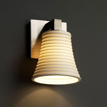 Modular Round Flared Limoges Wall Sconce by Justice Design | POR-8921-20-SAWT-NCKL
