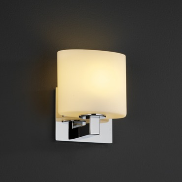 Modular ADA Oval Fusion Wall Sconce by Justice Design | FSN-8931-30-OPAL-CROM