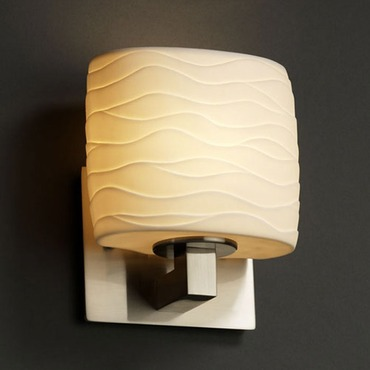 Modular Oval Limoges Wall Sconce by Justice Design | POR-8931-30-WAVE-NCKL