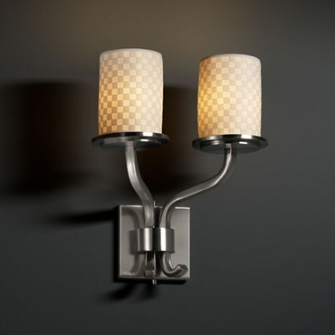 Sonoma Two Light Cylinder Flat Rim Limoges Wall Sconce by Justice Design | POR-8782-10-CHKR-NCKL