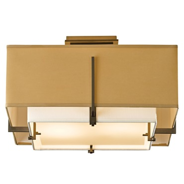 Exos Small Square Semi Flush Ceiling Light by Hubbardton Forge | 126507-07-QBNB