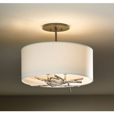 Brindille Small Vintage Platinum Semi Flush Mount by Hubbardton Forge | 127663-82-773