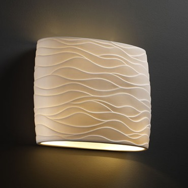 Wide Oval Flush Wall Sconce by Justice Design | por-8855-wave