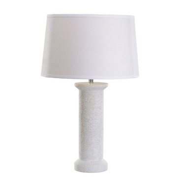 White Marble Rough Round Table Lamp