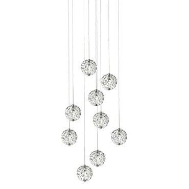 Bubble Ball 9 Light Round LED Pendant
