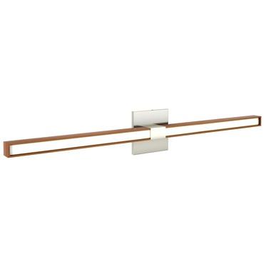 Tie Stix Wood Horizontal Fixed Wall Light w/ 4SQ Canopy