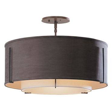 Exos Small Double Shade Round Semi Flush Mount by Hubbardton Forge | 126503-07-AABC