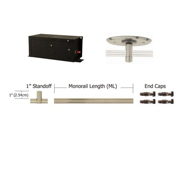 Monorail 12V Straight Kit 300W Remote Magnetic by PureEdge Lighting | T-300-12-K16-PN