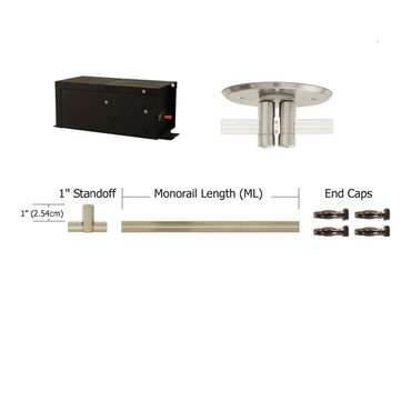 Monorail 12V Straight Kit 600W Remote Dual Feed Magnetic by PureEdge Lighting | T-600-D12-K16-SN
