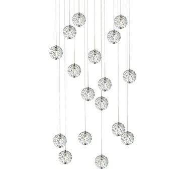 Bubble Ball 17 Light Round Halogen Multi-Light Pendant by Edge Lighting | 20rd-17-bbcl-10ft-sn