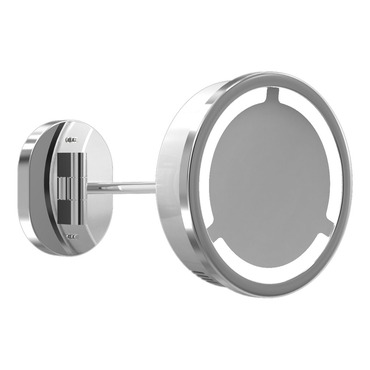 Single Arm Halo Light Wall Mirror by Remcraft Lighting | m3-h-wb-3x-chr