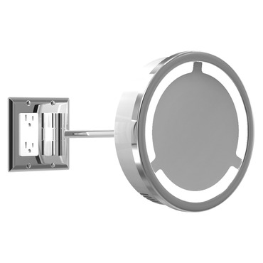 Single Arm Halo Light Wall Mirror W / Outlet