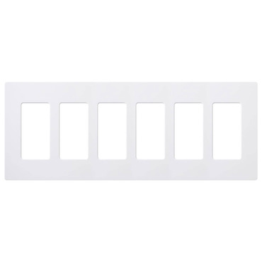 Claro Designer Style 6 Gang Wall Plate by Lutron | cw-6-wh
