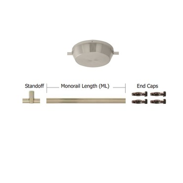Monorail 600W Surface Mount Dual Feed Kit 1 Inch Drop