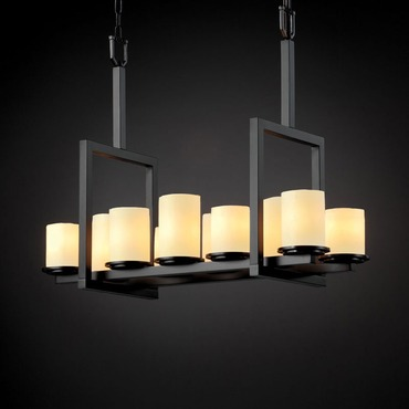 Dakota Bridge Chandelier by Justice Design | cndl-8757-10-crem-mblk
