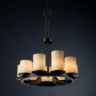 Dakota Ring Chandelier by Justice Design | cndl-8766-10-crem-mblk