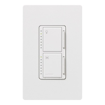 Maestro Dual Dimmer With Fan/ Light Control Single Pole by Lutron | ma-lfqhw-wh