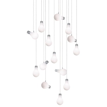 Bright Idea 14 Light Linear Suspension by Edge Lighting | 33RE-14-BI-10FT-SN