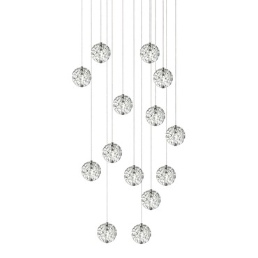 Bubble Ball 14 Light Halogen Linear Multi-Light Pendant by Edge Lighting | 33RE-14-BBCL-10FT-SN