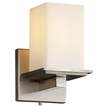 Montana Square Flat Rim Wall Sconce by Justice Design | FSN-8671-15-OPAL-NCKL