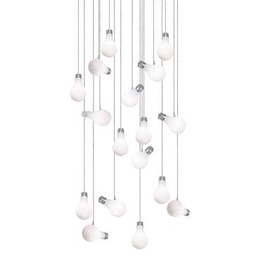 Bright Idea 17 Light Round Suspension by PureEdge Lighting | 20RD-17-BI-10FT-SN