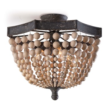 Wood Beaded Semi Flush Ceiling Light