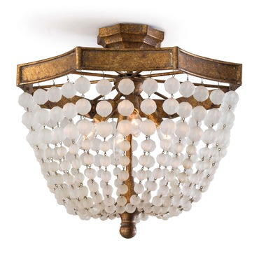 Frosted Crystal Bead Semi Flush Ceiling Light