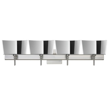 Groove Bath Bar with Square Canopy by Besa Lighting | 4SW-6773MR-SN-SQ