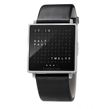 Qlocktwo Black Face/Leather Wrist Watch