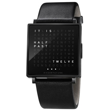 Qlocktwo Black Face/Rubber Wrist Watch