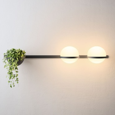 Palma Horizontal Double Wall Light with Planter