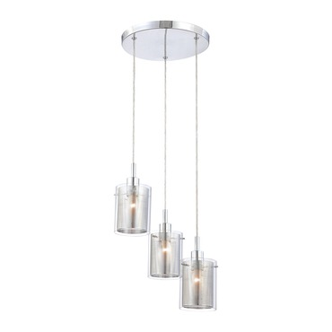 P963 Grid II 3-Light Pendant by George Kovacs | P963-077