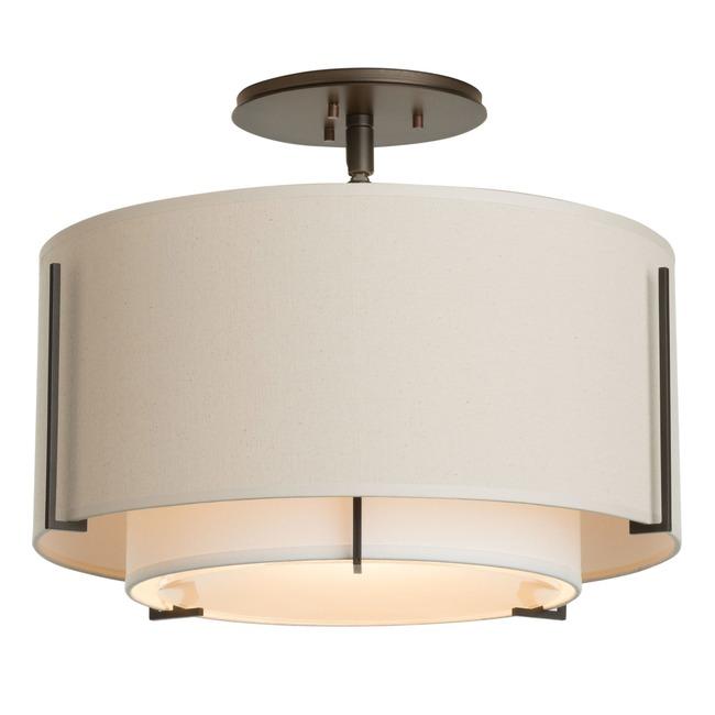 Exos Double Shade Semi Flush Ceiling Light  by Hubbardton Forge