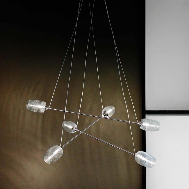 Damasco 6-light Pendant by Vistosi | SPDAMAS6PCRNI