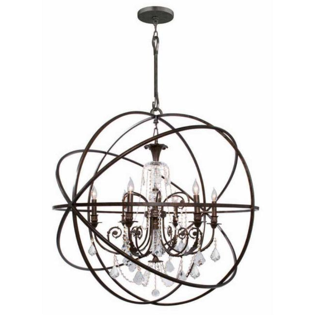 Solaris Large Chandelier with Clear Crystals by Crystorama | 9219-EB-CL-S