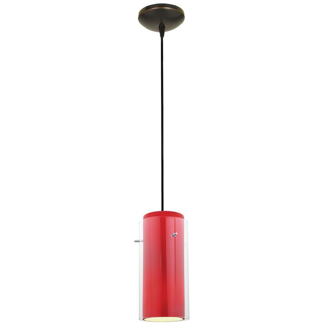 Glass n Glass Cylinder Cord Pendant by Access | 28033-1C-ORB/CLRD