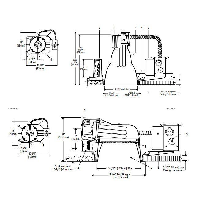 Calculite 6132BU 6 In CFL Horizontal/Vertical Frame-In Kit  by Lightolier | 6132BU