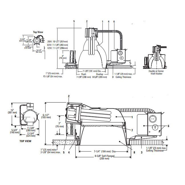 Calculite 7132BU 7 In CFL Horizontal/Vertical Frame-In Kit  by Lightolier | S7132BU