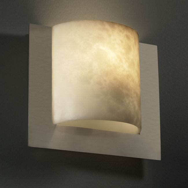 Clouds Framed Square ADA Wall Sconce by Justice Design   CLD-5560-NCKL-LED1-1000