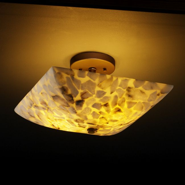 Alabaster Rocks Square Semi Flush Mount by Justice Design | ALR-9695-25-DBRZ-L-2000