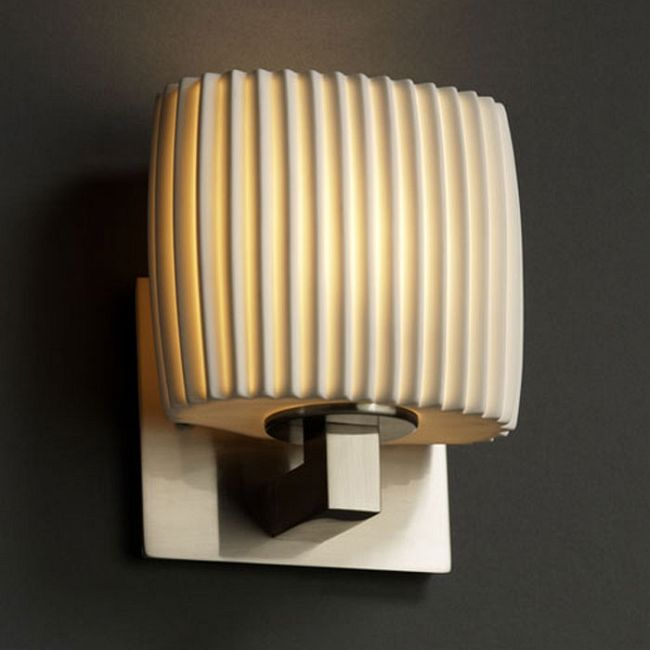 Modular ADA Oval Wall Sconce by Justice Design | POR-8931-30-PLET-NCKL