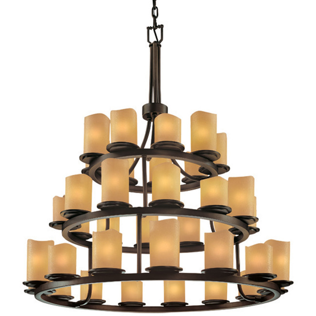 Dakota Three Tier Cylinder Melted Rim Chandelier by Justice Design | CNDL-8712-14-AMBR-DBRZ