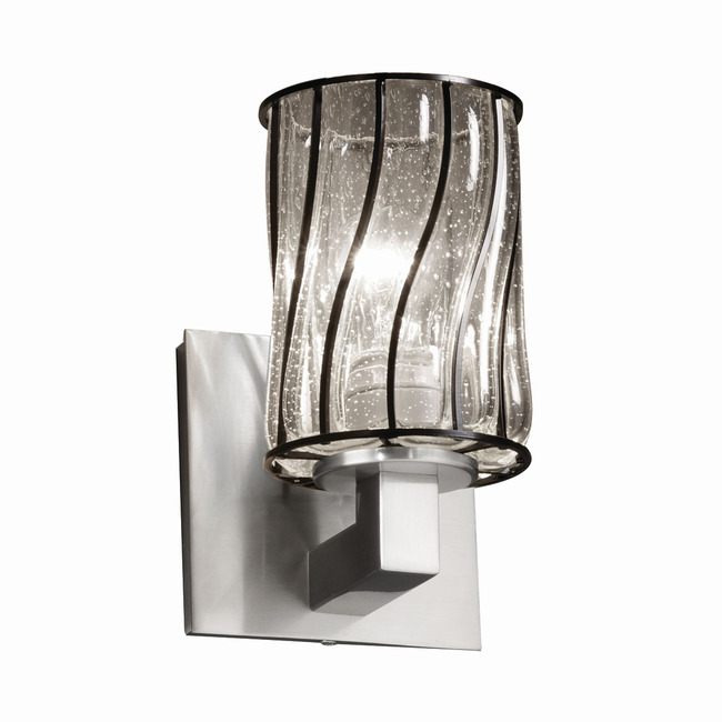 Modular Cylinder Flat Rim Wire Glass Wall Sconce by Justice Design | WGL-8921-10-SWCB-NCKL