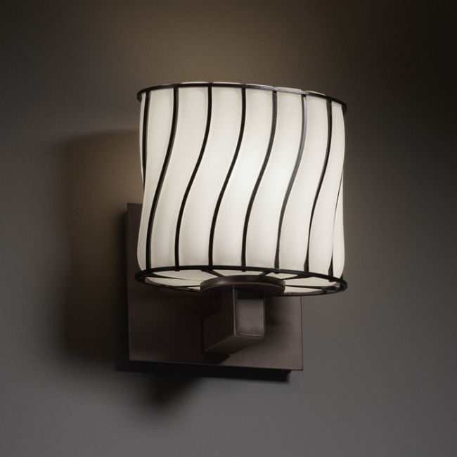 Modular Oval Wire Glass Wall Sconce by Justice Design   WGL-8931-30-SWOP-DBRZ