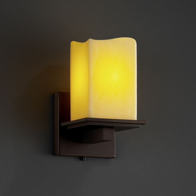 Montana Square Melted Rim Candlearia Wall Sconce by Justice Design | CNDL-8671-19-AMBR-DBRZ