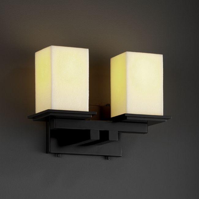 Montana Two Light Square Bath Bar by Justice Design | CNDL-8672-15-CREM-MBLK