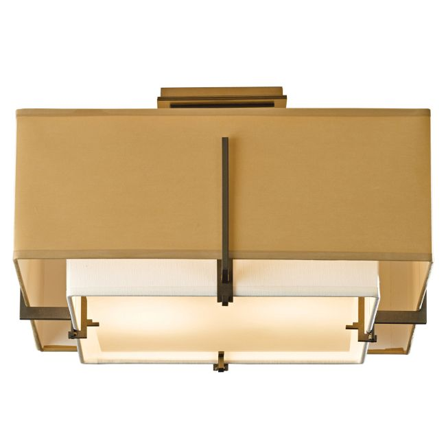Exos Square Double Shade Semi Flush Ceiling Light by Hubbardton Forge | 126507-1079