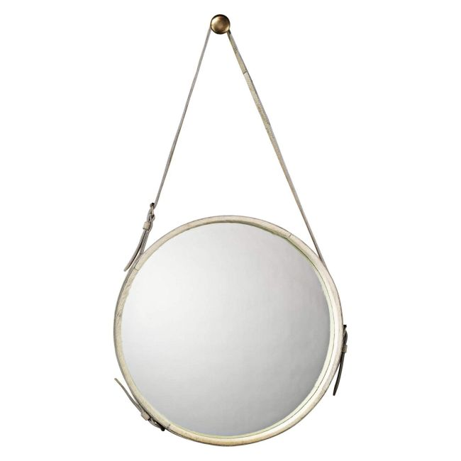 Round Hide Wall Mirror  by Jamie Young Company