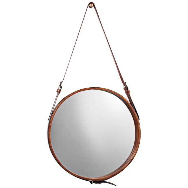 Round Leather Mirror  by Jamie Young Company
