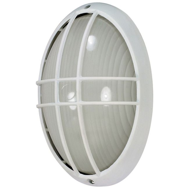 Oval Outdoor Caged Wall Light  by Satco